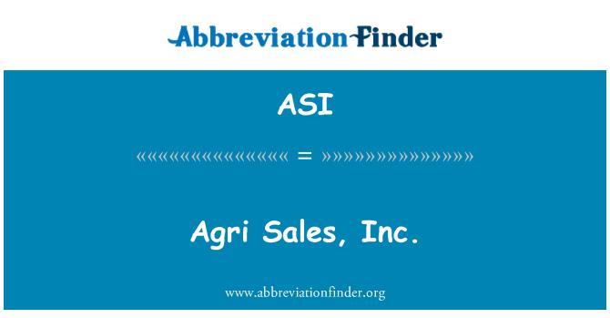 ASI: Agri Sales, Inc.
