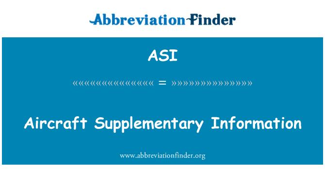ASI: Aircraft Supplementary Information