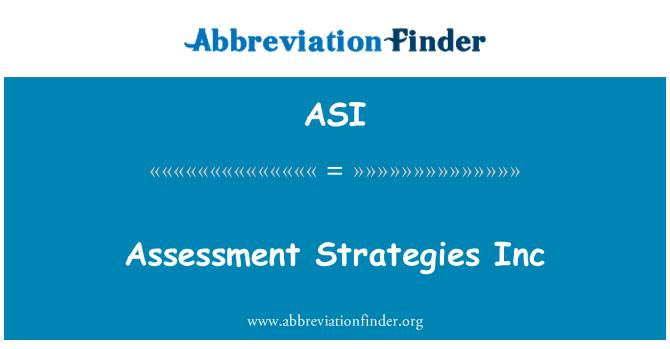 ASI: Assessment Strategies Inc