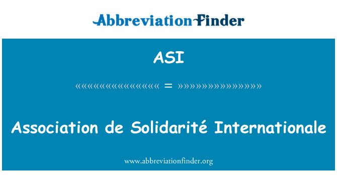 ASI: Association de Solidarité Internationale