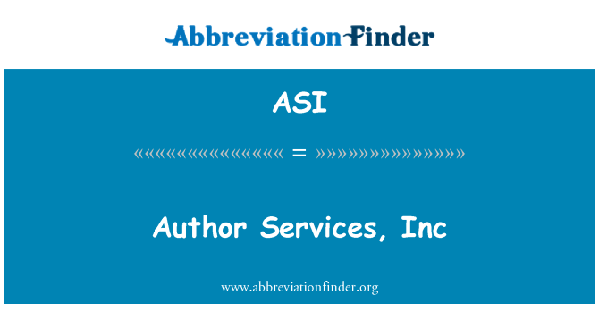 ASI: Author Services, Inc