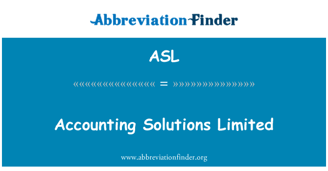 ASL: Accounting Solutions Limited