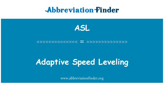 ASL: Adaptive Speed Leveling