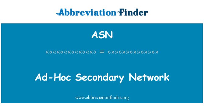 ASN: Ad-Hoc Secondary Network