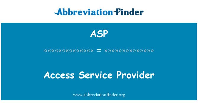 ASP: Proveedor de servicio de acceso a