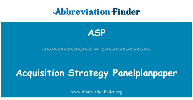 ASP: Omandamise strateegia Panelplanpaper