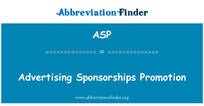 ASP: Reklaam sponsorlus edendamine