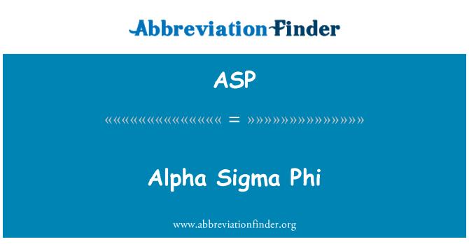 ASP: Alfa Sigma Phi