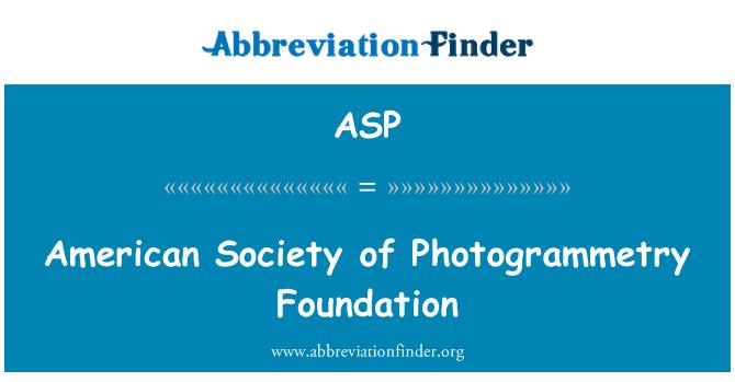ASP: American Society of Photogrammetry fond