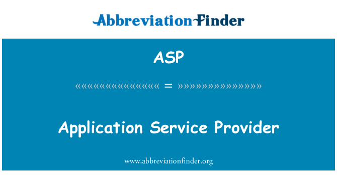 ASP: Rakenduse pakkuja