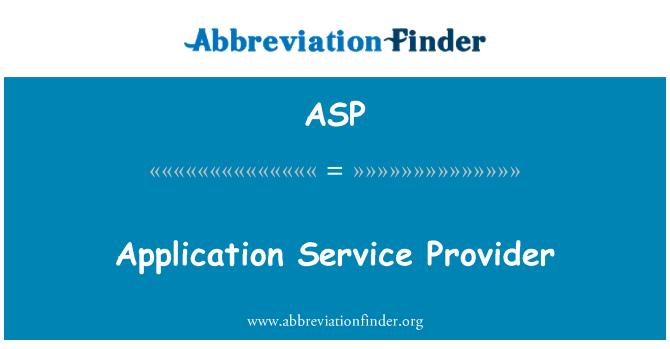 ASP: Application Service Provider