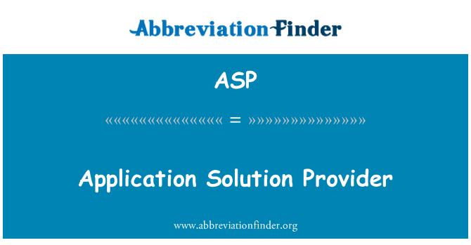 ASP: Rakenduse pakkujale