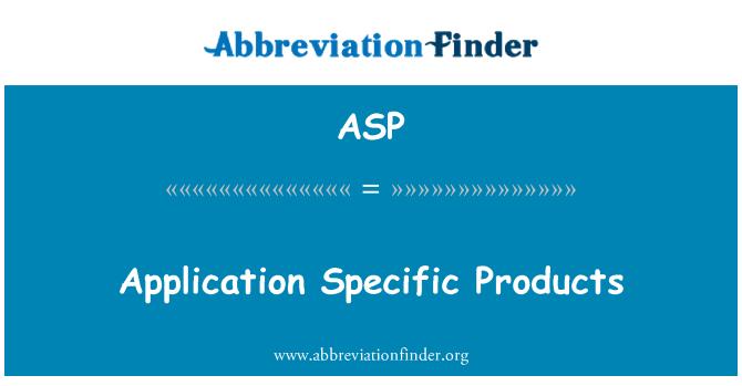 ASP: Применение конкретных продуктов