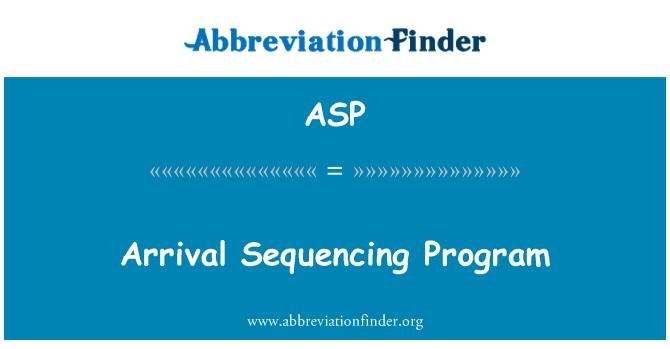ASP: Programa de la secuencia de llegada