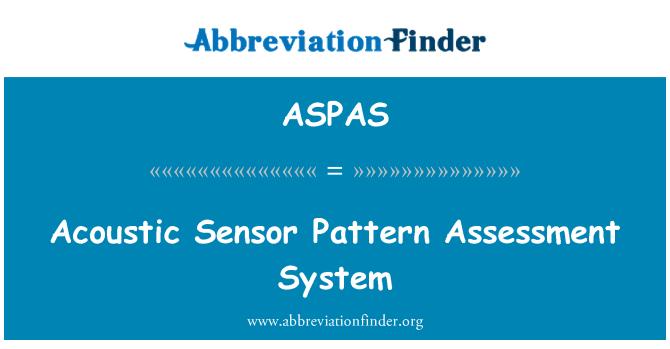 ASPAS: Acoustic Sensor Pattern Assessment System