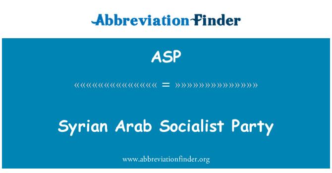 ASP: Partido Socialista árabe sirio