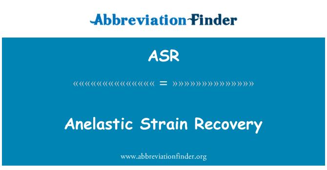 ASR: Anelastic Strain Recovery