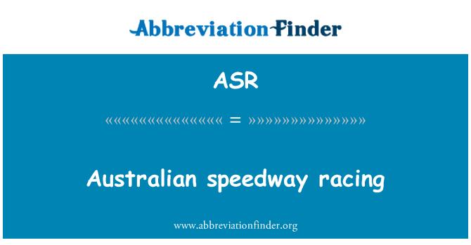 ASR: Australian speedway racing