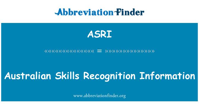 ASRI: Austraalia oskuste tunnustamise saamiseks