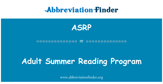 ASRP: Adult Summer Reading Program