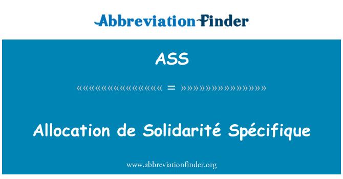 ASS: Jaotamise de Solidarité Spécifique