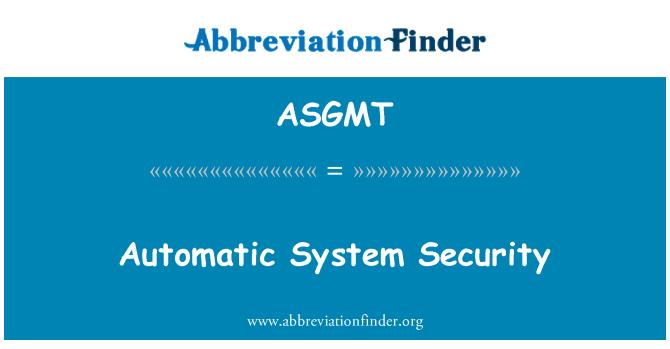 ASGMT: 自动系统的安全性