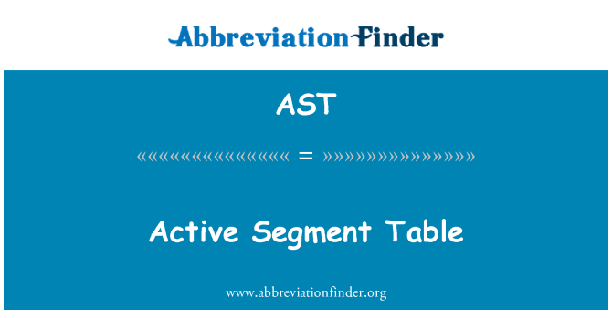 AST: Active Segment Table