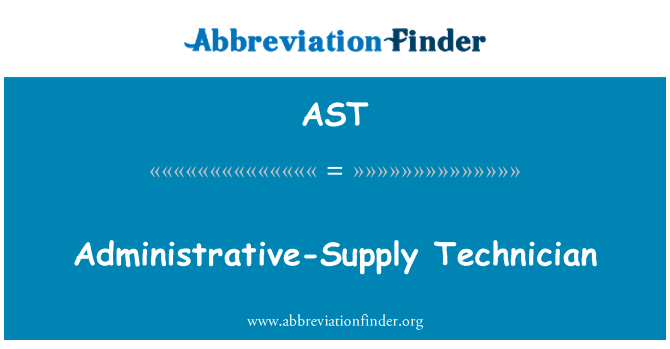 AST: Administrative-Supply Technician