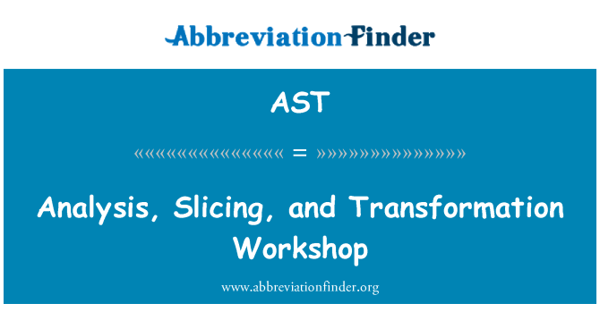 AST: Analysis, Slicing, and Transformation Workshop