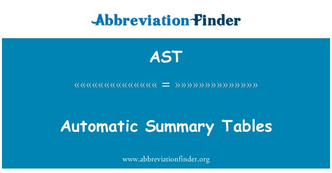 AST: Automatic Summary Tables