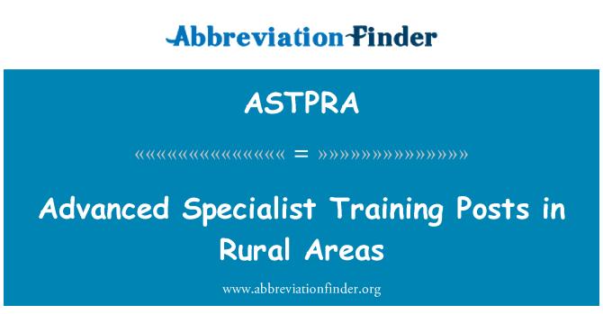 ASTPRA: Pokročilý odborný výcvik příspěvky ve venkovských oblastech
