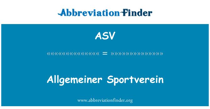 ASV: Allgemeiner Sportverein