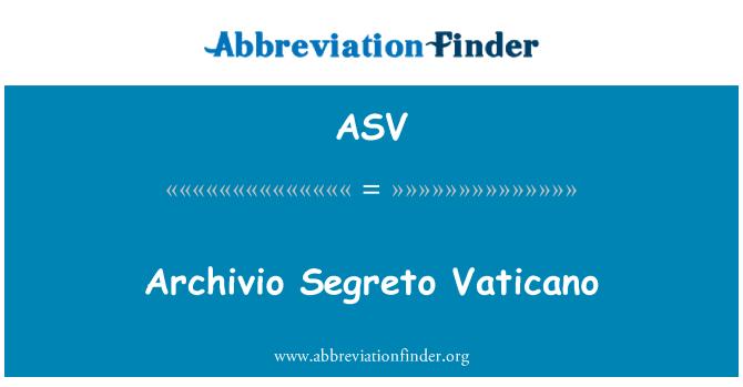 ASV: Archivio Segreto Vaticano