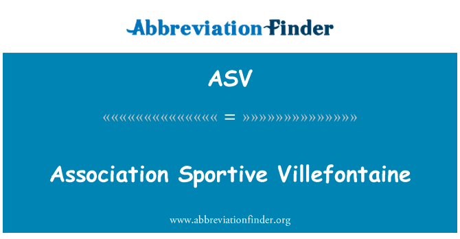 ASV: Association Sportive Villefontaine