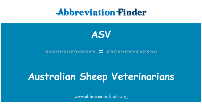 ASV: Australian Sheep Veterinarians