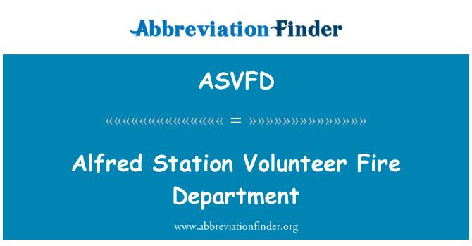 ASVFD: Departamentul de pompieri voluntari Alfred Station
