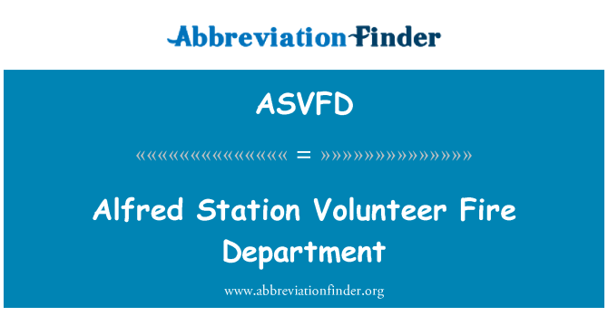 ASVFD: אלפרד תחנת מכבי אש מתנדבים