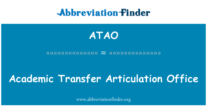 ATAO: Academic Transfer Articulation Office