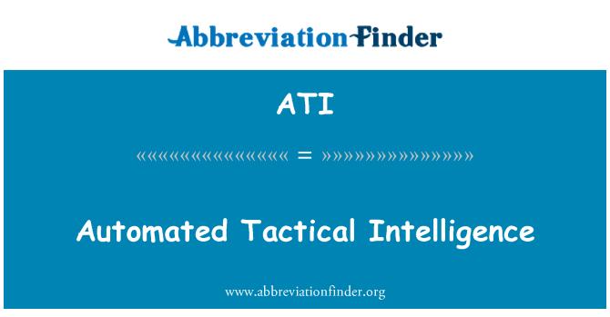 ATI: Automated Tactical Intelligence
