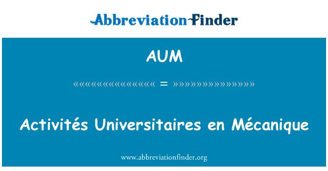 AUM: Activités Universitaires en Mécanique