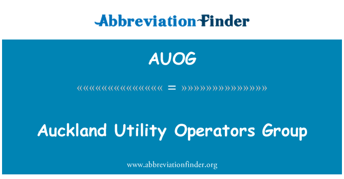 AUOG: Auckland Utility Operators Group