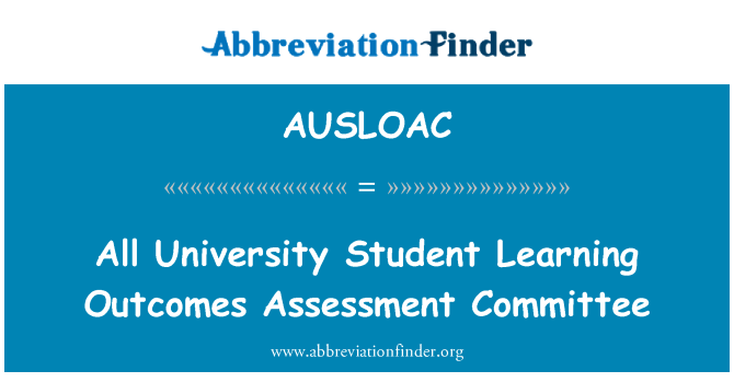 AUSLOAC: All University Student Learning Outcomes Assessment Committee