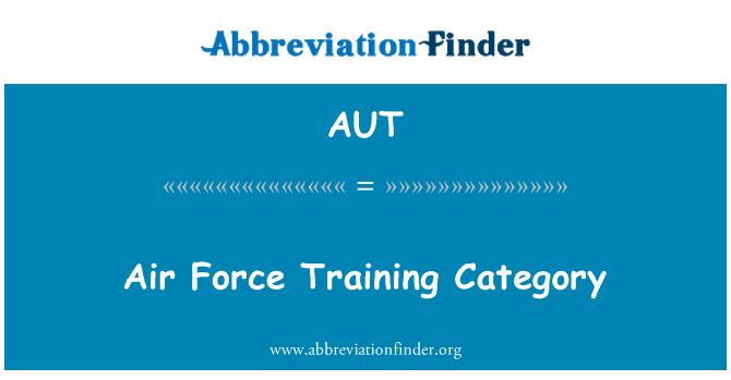 AUT: Kategori latihan tentera udara