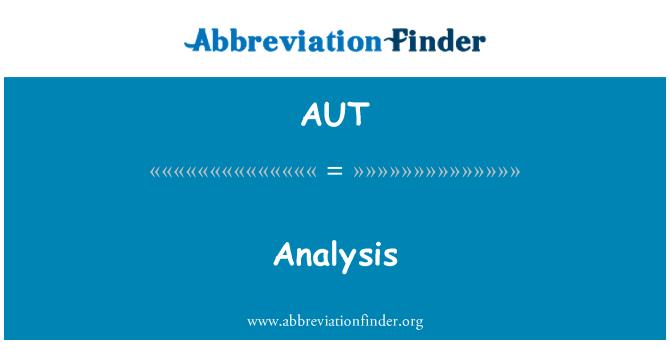 AUT: 分析