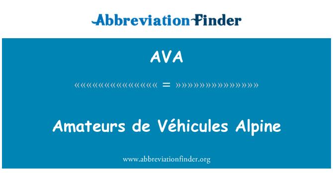 AVA: Amateurs de Véhicules Alpine