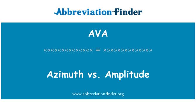 AVA: Azimuth vs. Amplitude