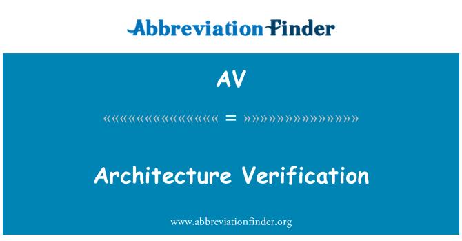 AV: Architecture Verification