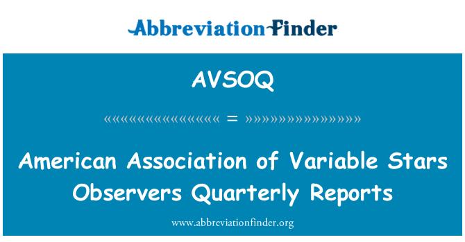 AVSOQ: Asociación Americana de observadores de estrellas variables trimestrales