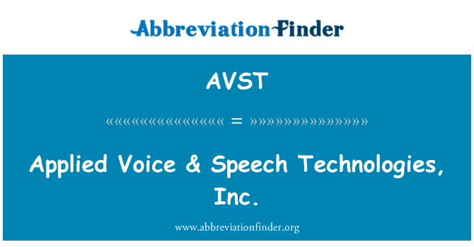 AVST: Uygulanan ses & konuşma Technologies, Inc.