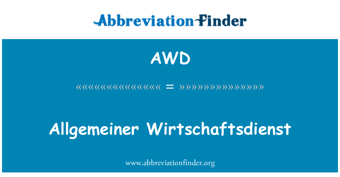 AWD: Allgemeiner Wirtschaftsdienst